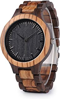 Mens Wooden Watch, Black & Zebra Sandalwood Wood Quartz Watch for Men Casual Wrist Watches
