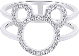 ce075c0fc AFFY Mothers Day Jewelry Gifts Stunning Round Shape White CZ Mickey Mouse  Open Ring in 14K