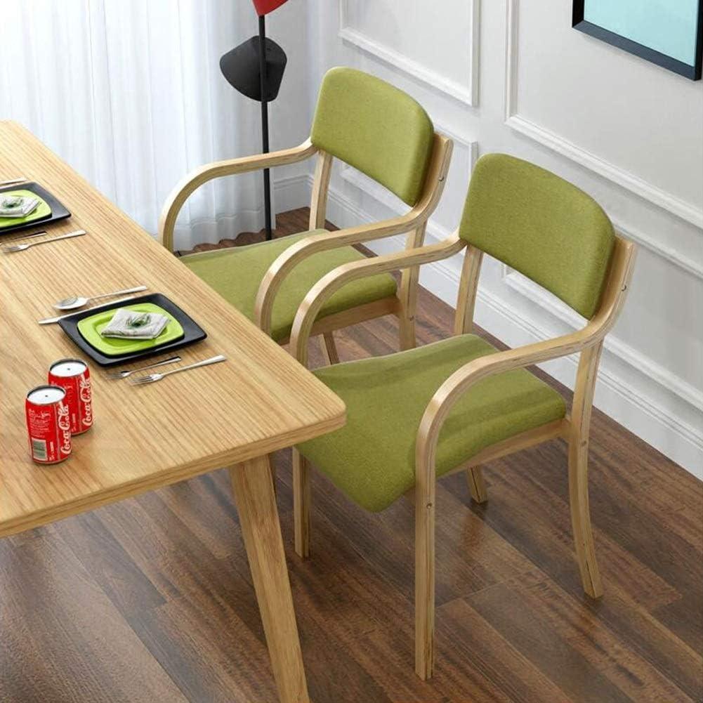 WYYY chaises Rétro Bois Massif Chaise De Salle À Manger Accoudoir Toile De Lin Fauteuil Bureau Cuisine Amovible Lavable Durable fort (Color : T3) T1