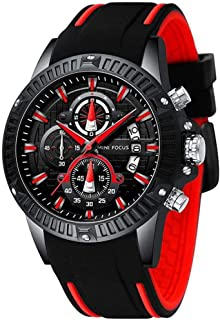 Sport Military Watches for Men Waterproof Chronograph Luminous Date Analog Quartz Watch Genuine Silicon Strap Fashion Busi...