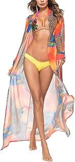 lovecarnation Women's Sexy Long Sleeves Chiffon Long Cardigan Printed Bikini Swimsuit Cover-ups Tops Cover Up