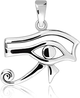 WithLoveSilver 925 Sterling Silver Heart Ancient Egyptian Eye of Ra Good Luck Pendant
