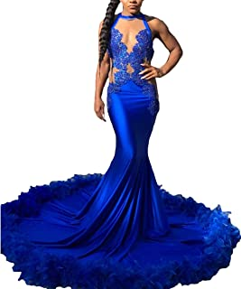 Women's Luxury Feather Prom Dresses Long 2019 Mermaid Halter Sheer Neck Backless Formal Evening Ball Gowns