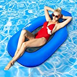 TEEHON Pool Folaties Adult, Upgraded Inflatable Pool Float No Pump Required, Portable Swimming Rafts for Lakes Beach Pool Party, Summer Floating Pool Lounger Chair with Pocket for Adults & Kids