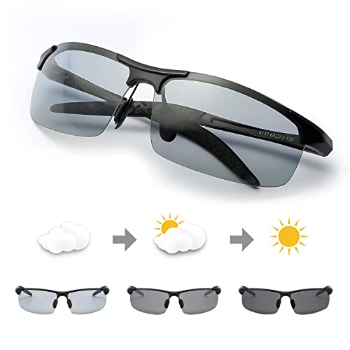 6ef6a9d828d3d Mens Photochromic Sunglasses Polarized for Driving Rectangular Frame with  100% UVA UVB Protection