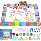 Water Doodle Mat - Kids Painting Writing Doodle Toy Board - Color Doodle Drawing Mat Bring Magic Pens Educational Toys for Age 3 4 5 6 7 8 9 10 11 12 Year Old Girls Boys Age Toddler Gift (Pink)