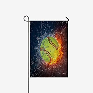 Cool Softball Ball in Fire and Water Garden Flag House Banner, Decorative Yard Flag for Wishing Party Home Outdoor Decor, 12