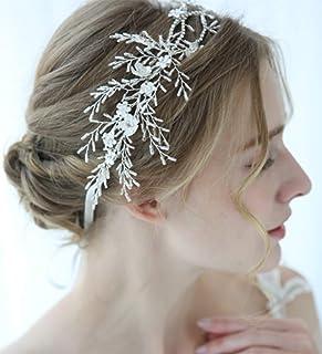 FXmimior - Fascia per capelli con perle e cristalli, stile vintage, per matrimoni, feste, serate, accessori per capelli da...