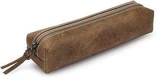 Otto Angelino Genuine Leather Zipper Pen, Pencil & Cosmetic Case (Mink)