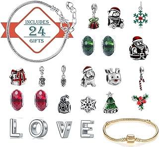 Advent Christmas Calendar Women Girls Christmas Countdown Calendar 24 Days Jewelry Collection Jewelry Advent Calendar 22 Charms Pendant Beads 2 Bracelet Set Christmas Birthday Jewelry DIY Gift Present