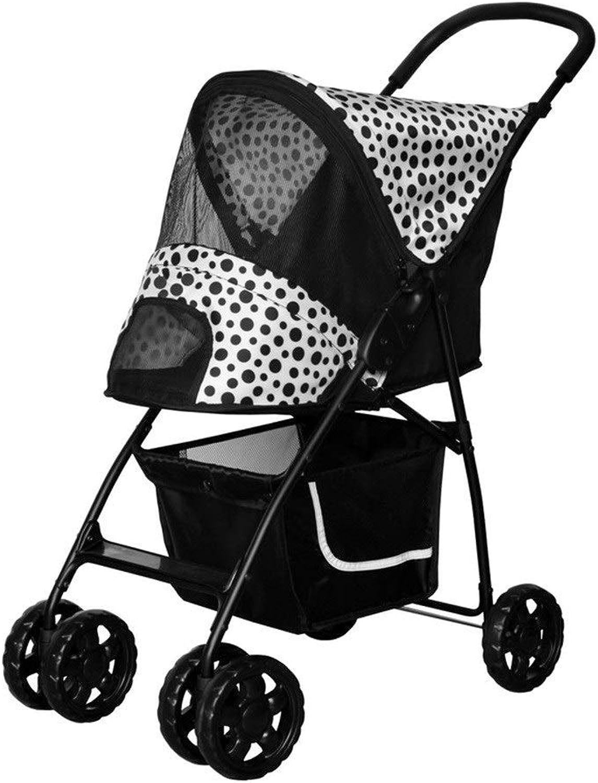 Ryan Dog Pushchair, Stroller Pram Carrier Pet Travel Cat Trolley Jogger Outdoor 4 Wheel Cart For Small Medium Dogs (color   Black)