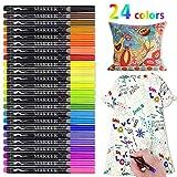 Marqueurs Tissu, RATEL 24 couleurs Marqueur Textile Pas de saignement Marqueur permanent,Idéal pour...