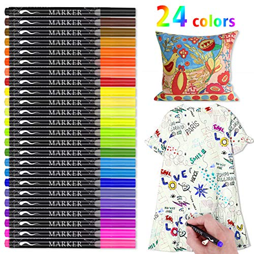 Fabric Marker, RATEL 24 Colors Textile Marker No Bleed Fabric Pen Permanent and Washable T-Shirt Marker,Ideal for Decorate T-shirts, Bibs, Textiles, Shoes, Handbags, Graduation Signatures