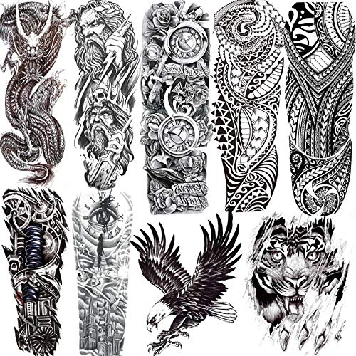 9 Sheets ALISA Black Tribal Maori Bald Eagle Full Arm Temporary Tattoo Sleeve For Men Teens Large Dragon Full Sleeve Temporary Tattoos Boys Kids Compass Pirate Tiger Cool Spartan Warrior Tatoo Custom