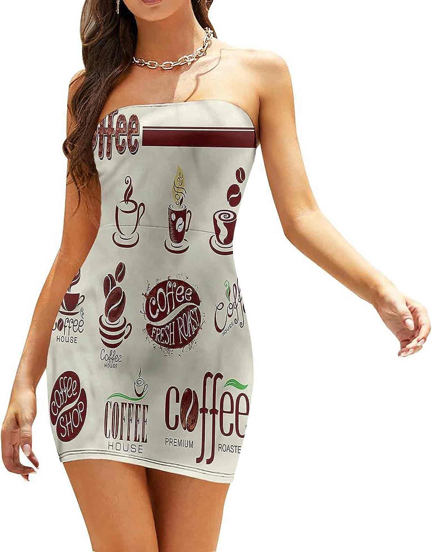 SUZM Women's Tube Top Beach Mini Dress Rustic Collage of Grains Dresses