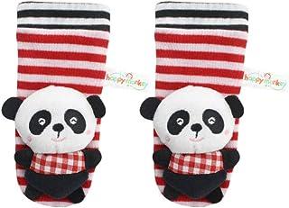 NUOBESTY, Hermosos Calcetines en Forma de Panda con Sonajeros de Muñeca Sonajero de Felpa de Dibujos Animados Lindo con Campana de Anillo para Bebé Niña Niño Al Aire Libre (Negro)