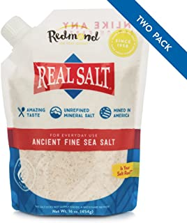 Redmond Real Salt - Ancient Fine Sea Salt, Unrefined Mineral Salt, 16 Ounce Pouch (2 Pack)
