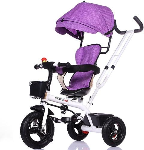 Fenfen Kinder Dreirad Fahrrad 1-5 Jahre alt Kinderwagen Baby Trolleys Kinder Fahrrad, blau, grau, lila, grau SchwarzRahmen (Farbe   lila)