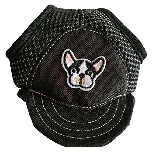 AmaMary Kleiner Mittlerer Großer Haustier HundeSommer justierbarer Breathable Segeltuch Baseball Hut (M, Schwarz)