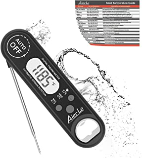 Digital Instant Read Meat Thermometer Waterproof Ultra-fast Cooking Thermometer Foldable Smart Probe Backlight Calibrate Kitchen Grill Smokers for BBQ Food Candy Milk Tea Roast Oven Safe by Aier Le