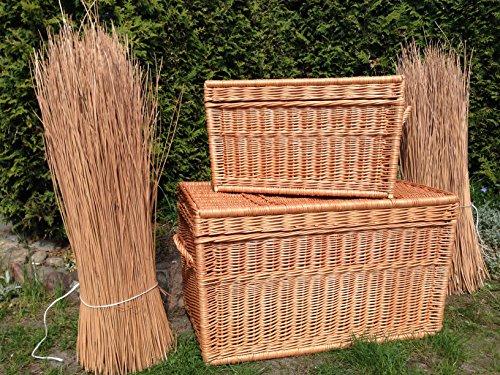 Zwei Korbtruhen Weidenkorb Set 80cm und 60cm, Wicker Chests, Trunk Set, Korb mit Deckel - 4