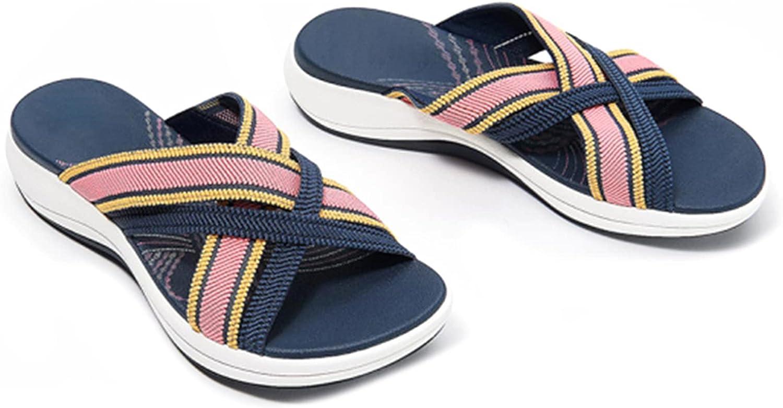 Kexle Women's Slides Sandal Stretch Cross Orthotic Slide Sandals, Gradation Stretch Cross Orthotic Slide Sandals for Women Indoor & Outdoor Beach
