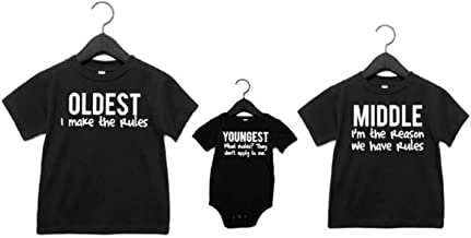 Sibling shirts set of 3 Oldest Middle Youngest Sibling Rules- Pick Your Colors New Sibling Shirts