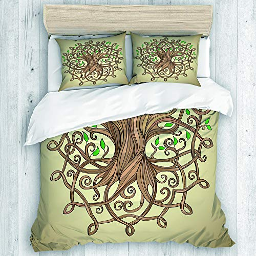 DAHALLAR Duvet Cover Set,Knot Amazing Tree of Life in The Celtic Pattern Leaves Roots Culture,Decorative 3 Piece Bedding Set with 2 Pillow Shams King Size