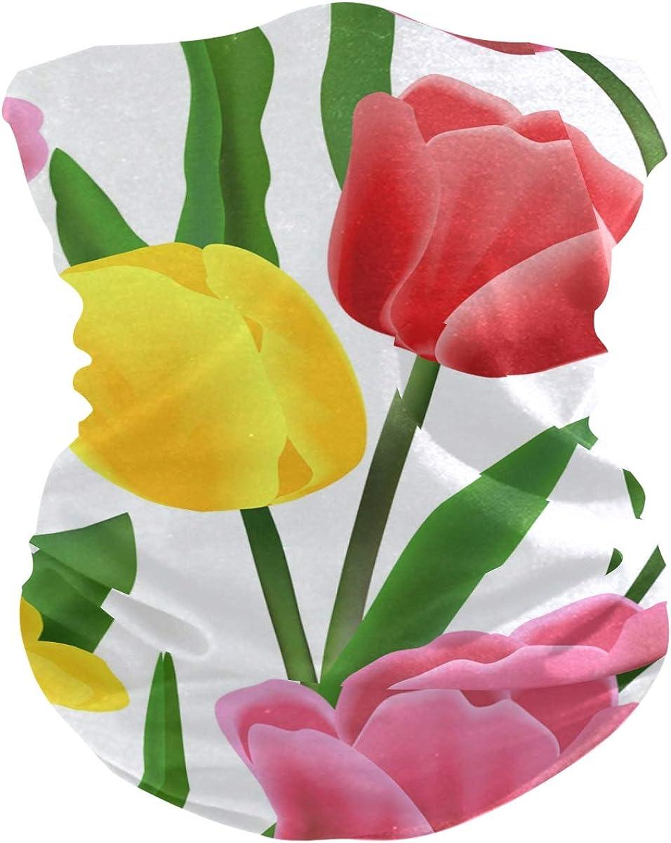Tulip PatternFace Mask Sun UV Protection Bandana Mask Rave Neck Gaiter Balaclava Headwrap Face Cover Scarf