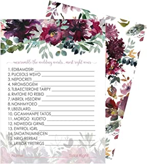 Shabby Floral Bridal Shower Games for Guests - 25 Word Scramble Cards - Wedding Rehearsal Engagement Party Activity