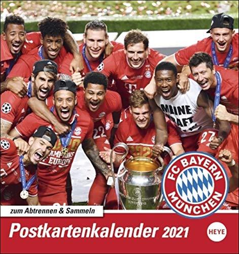 FC Bayern München Postkartenkalender 2021 - Kalender mit perforierten Postkarten - zum Aufstellen und Aufhängen - mit Monatskalendarium - Format 16 x 17 cm
