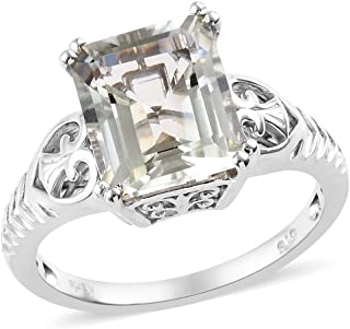 Shop LC Delivering Joy Solitaire Ring Octagon Green Amethyst Platinum Plated Jewelry for Women Size 6 Ct 4.5