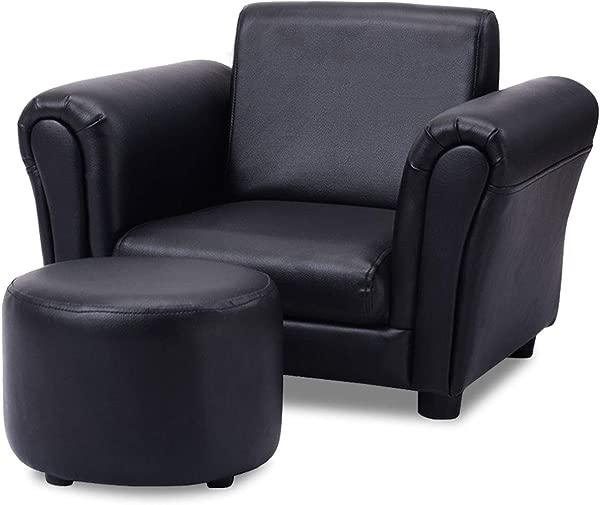 Costzon 儿童沙发,带脚凳,带 ASTM CPSIA 认证的儿童沙发,带磅承重的迷你幼儿沙发,符合人体工程学设计的扶手椅,带扶手和靠背黑色