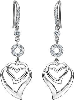 Women's 925 Sterling Silver CZ Sweet Love Heart Hook Dangle Earrings Clear