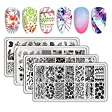 BORN PRETTY Plant Flowers Spring Stamping Plates DIY Nail Art Stamping Templates 4Pcs