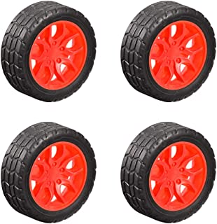 uxcell 30mm Rubber Toy Car Wheel Tires DIY Model Robots 4pcs, Red and Black