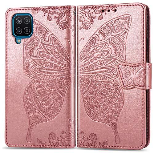 ZTOFERA Funda con tapa para Samsung Galaxy A12, diseño de mariposas en relieve, con cierre magnético, ranuras para tarjetas, función atril, correa de mano, funda fina para Samsung A12 5G - oro rosa