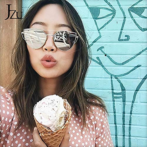 TEYUN JZU Cat Eye Brand Gafas de Sol Mujeres Diseñador Espejo Plano Rosa Oro Vintage Metal Reflectante Gafas de Sol Mujeres Mujeres Gafas (Color : C)