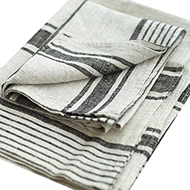 LinenMe Set of 2 Provence Linen Hand Towels, Standard, Black Natural Striped, Prewashed 100% Linen, Made in Europe, Highest Quality, Bath Sheet