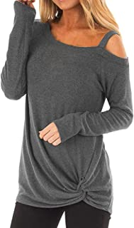Top T-Shirt Womens Casual Soft Long Sleeves O Neck Knot Side Twist Blouse