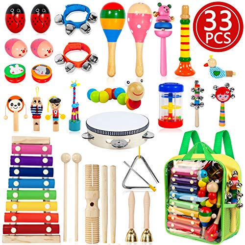 TAIMASI Kids Musical Instruments, 33PCS 18 Types Wooden Percussion Instruments Tambourine Xylophone...