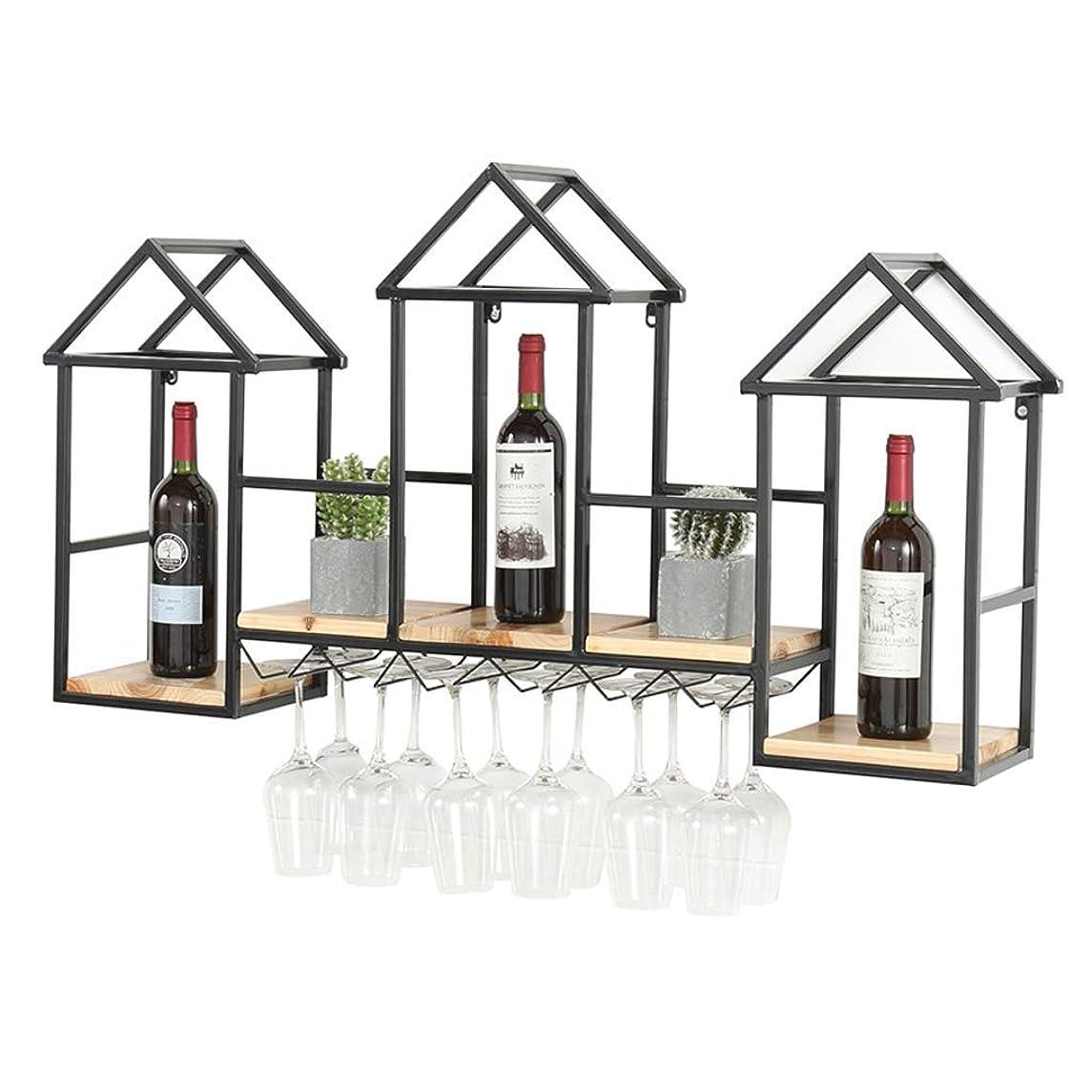 わかる利用可能発揮するワインラック、クリエイティブ無垢材ワインラック壁掛けダイニングルームの装飾壁ワインキャビネットラックワイングラスラックワインラック