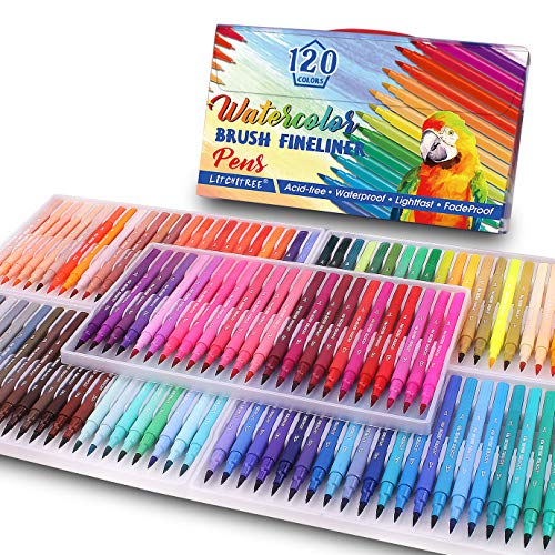 120 Colors Felt Tip Pens Watercolor Marker Pens, Double Art Coloring Pens Fine Tip Brush Markers for Adult Students,Card Making, Photo Album Coloring...
