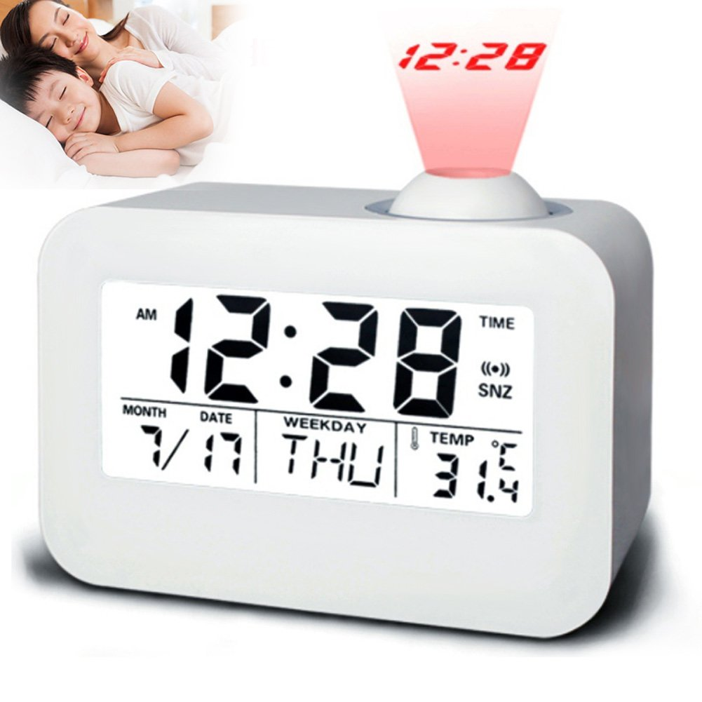 zreal electrónica LCD proyector despertador Tiempo Temperatura ...