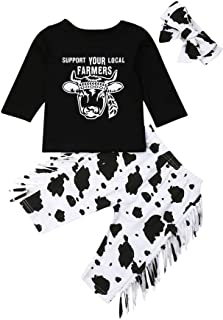 3PCS Baby Boys Girls Long Sleeve T-Shirt Tops + Tassels Cow Long Pants + Outfit Clothes Set