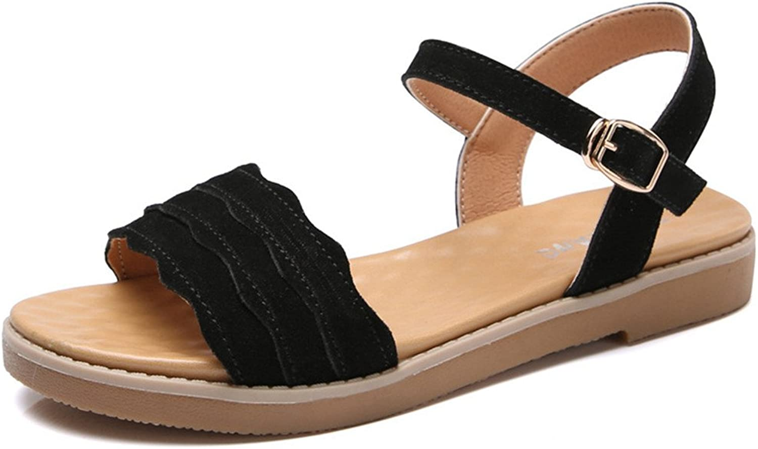 Giles Jones Women Flip Flops Flat Sandals,Cute Platform Buckle Open Toe Slides Beach shoes