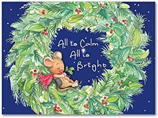 All is Calm with Wreath & Mouse Deluxe Religious Christmas Holy Greeting Card 20 Cards with Envelopes