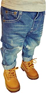 EMAOR Unisex Kids Baby Elastic Waist Ripped Holes Denim Pants Jeans & Shorts 18Months - 8Years
