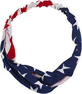 Lux Accessories Patriotic American Flag July 4th Knot Chiffon Printed Headwrap