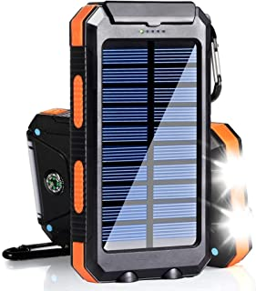 $21 Get Solar Charger 20000mAh Portable Outdoor Waterproof Mobile Power Bank, Backpack Camping External Backup Battery Pack Dual USB with 2 LED Flashlight Compass for iPhone Android